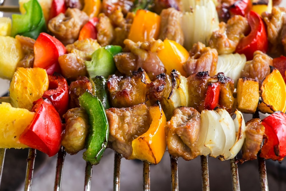 chicken kabobs on grill