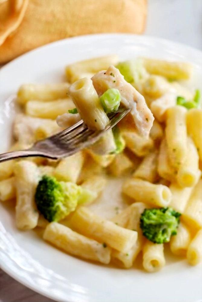 chicken alfredo pasta with broccoli
