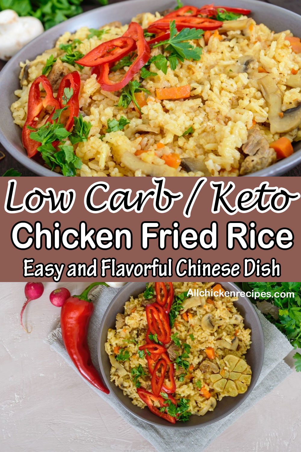 Low carb keto chicken fried rice